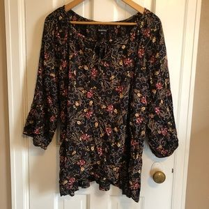 Black Floral blouse